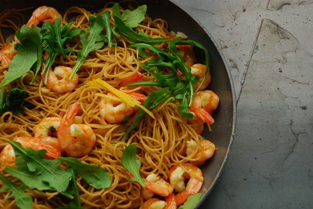 pittige-pasta-met-garnalen